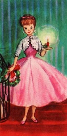 Old Christmas Card   —  Vintage 'Christmas Lady' (344x700)