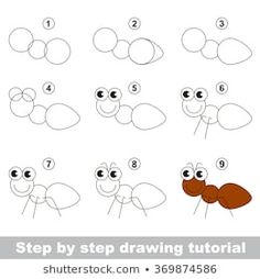 Portfolio di foto e immagini stock di Kid_Games_Catalog Drawing Lessons For Kids, Drawing Tutorials For Kids, Easy Drawings For Kids, Art For Kids, Animal Drawings, Cute Drawings, Insects For Kids, Toddler Drawing, Easy Doodle Art