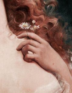 Young Woman with Daisies (detail) Emile Vernon Oil on canvasYou can find Classic art and more on our website.Young Woman with Daisies (detail) Emile Vernon Oil on canvas Renaissance Kunst, Renaissance Paintings, Italian Renaissance, Aesthetic Painting, Aesthetic Art, Angel Aesthetic, Oil On Canvas, Canvas Art, Painting Canvas