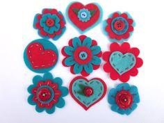 9 pcs- Felt Embellishments , Red and Turquoise, Felt rounds, Felt Flowers, Felt Appliques, Felt Hearts