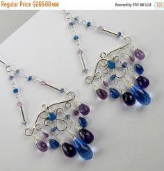WEEKEND SALE Blue Chandelier Earrings  by DoolittleJewelry on Etsy