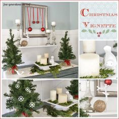 "Our ""shopped the house"" inexpensive christmas vignette by Jessica @ fourgenerationsoneroof.com"