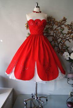 1950's petal hemmed prom dress - from Xtabay Vintage in Portland - http://www.etsy.com/shop/xtabayvintage