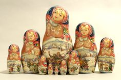"10 Piece ""Vyatskaya Matryoshka"" number 63385"