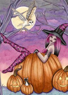 Halloween Art Witch ACEO Print - Fantasy Art - Pumpkin Owl Cat Fairy Gothic - Zoe - by Nikki Burnette.
