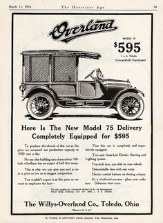 1916 Overland Model 75 Screened Side Delivery Car | Flickr - Photo Sharing!