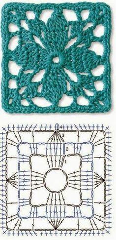 Transcendent Crochet a Solid Granny Square Ideas. Inconceivable Crochet a Solid Granny Square Ideas. Crochet Motifs, Granny Square Crochet Pattern, Crochet Blocks, Crochet Diagram, Crochet Stitches Patterns, Crochet Chart, Crochet Squares, Knitting Patterns, Crochet Doilies