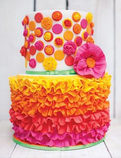 pink, orange and yellow ruffles and flowers fiesta cake