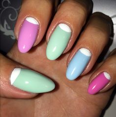 Spring 2014 Nails White half moon on pastel color nails Nail Art Mint Blue Lilac Pink Almond Nails Summer nail ideas