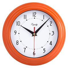 Equity by La Crosse 25018 Analog Wall Clock: Add a splash of color with a new vibrant colored wall clock with durable orange plastic frame. Single battery operation and light weight. Quartz movement for easy-to-set time. Orange Wall Clocks, Clock Wall, Analog Alarm Clock, Living Room Clocks, Clocks For Sale, Clock Movements, La Crosse, Orange Walls, Battery Operated