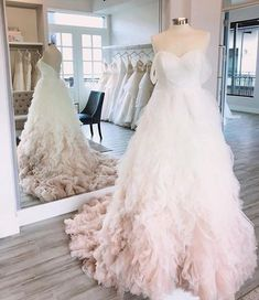 The #UMAgown at @belleamebridalhouston in Blush Ombre Ombre Wedding Dress, Wedding Dress Organza, Wedding Flower Girl Dresses, 2015 Wedding Dresses, Wedding Dress Styles, Bridal Dresses, Gown Wedding, Tulle Wedding, Mermaid Wedding