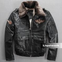 Men Black Cowhide Leather Lamb Fur US Air Force Army Bomber Jackets SKU-116137