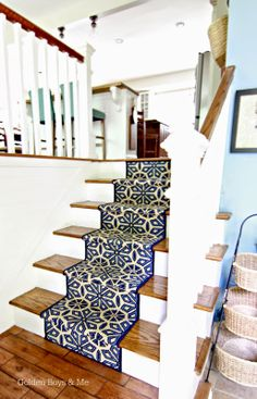 Split level foyer with DIY stair runner-www. Split Level Remodel, Split Level Home, Split Foyer, Split Level Entryway, Level Homes, Home Remodeling, House Renovations, Kitchen Renovations, Home Projects