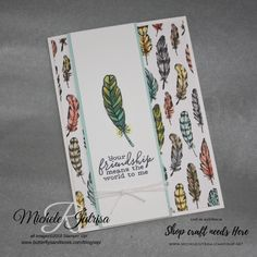 I love it when a card idea comes together with ease. The Bird Ballard Designer Series Paper coordinates with the stamps in the 'Hugs with Shelli' kit. You will be making cards with the stamp set long after the kit has gone. Pumpkin Cards, Paper Pumpkin, Feather Cards, Stampin Up Catalog, Beautiful Handmade Cards, Bird Cards, Birthday Cards For Men, Paper Cards, Stamping Up