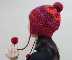 ランドネで編む耳あて付き透かし模様の帽子 | 手づくりレシピ | クロバー株式会社