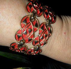 vtg JACOBEAN Crewel Motif Bracelet Lt Red ENAMEL Gold Floral Vines PRIORITY MAIL #CuffMuseumReproductionVictorianRetro