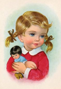 Vintage Postcard girl with doll by CuteEyeCatchers on Etsy