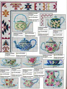 Cross stitch pattern, teapot and cup.