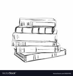 Pencil Art Drawings, Cool Art Drawings, Easy Drawings, Drawing Sketches, Drawing Ideas, Pile Of Books, Stack Of Books, Book Drawing, Drawing Things
