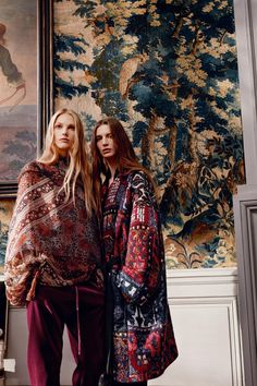 A textured narrative is formed through the use of kilim jacquards, plush velvets and mosaic floral silks for Fall 2016