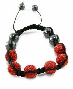 """10mm 6 Red Pave Crystal Hematite Disco Ball Shamballa European Bead Bracelet You Accessorize. $12.80. Macrame Closure. Adjustable Length (2.5""""-3.5""""). Fits an average person's wrist.. Features 4 magnetic balls surrounded by pave crystal balls.. 10mm Pave Crystal Balls"""