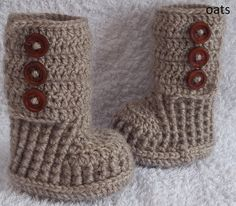 Crochet baby booties boots for newborn, 0 to 3 month or 3 to 6 months- CHOOSE your SIZE and COLOUR. $19.00, via Etsy.