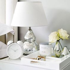 Buy Home Accessories > Kitchen Accessories > Nesting Laquer Trays from The White. Buy Home Accessories > Kitchen Accessories > Nesting Laquer Trays from The White Company. Bedside Table Styling, Bedside Table Decor, Bedside Table Organization, Bedroom Organization, Bedside Tables, Tray Styling, Organization Ideas, Dresser Styling, Bedside Clock