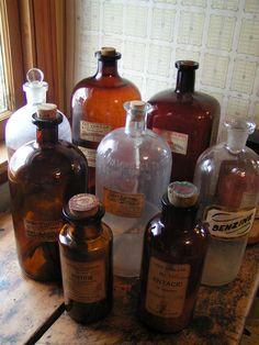 Vintage Extra Large Apothecary Pharmacy bottles
