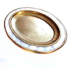 Vintage Brass Tray, Mother of Pearl Shell Inlay