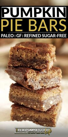 Paleo pumpkin pie bars have a slightly nutty, salty-sweet crust with a pumpkin pie filling layer on top. They are essentially fall, wrapped up into these tasty little bars. You really can't go wrong bringing them for dessert at Thanksgiving or to your holiday gatherings this year. I love how easy these pumpkin pie bars are to make, and I also love that they come out of the oven and firm... @realsimplegood #paleopumpkinbars #paleodiet #paleorecipes #fallpaleodesserts #paleothanksgivingdessert Paleo Fall Recipes, Pumpkin Recipes, Baking Recipes, Pumpkin Pie Bars, Pumpkin Spice Syrup, Recipe Maker, Fall Baking, Paleo Dessert, Sweet And Salty