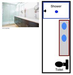 Free bathroom floor plans for your next remodeling project - for your master bathroom, bathroom, or powder/guest bathroom.: Plans For a Long, Narrow Bathroom Bathroom Layout Plans, Master Bathroom Layout, Bathroom Floor Plans, Basement Bathroom, Bathroom Flooring, Bathroom Ideas, Bathroom Remodeling, Bathroom Countertops, Master Bedroom