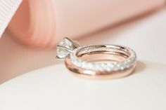 """Mikkel Paige Photography photos of a luxury wedding in NYC. Ring detail image with """"Princess"""" engraved inside the bride's diamond eternity band."""
