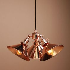 Vintage Industrial Three-headed Copper Shade Hanging Pendant Light Ceiling Lamp