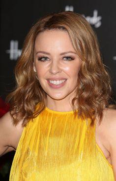 Kylie Minogue Brown Hairstyles for Medium Hair 2013