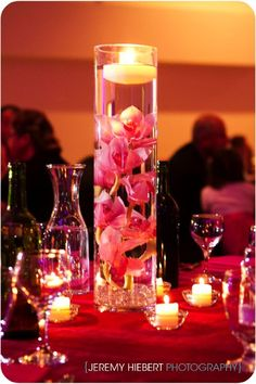 Pink scheme with small candles surrounding main centrepiece.