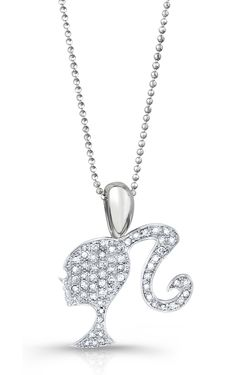 Barbie Rocks   Diamond Sterling Silhouette Necklace with Signature Heart and Tag   $595