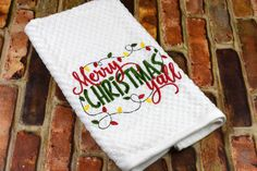 Embroidered Kitchen Towel - Merry Christmas Y'all Embroidered Kitchen Towel – Merry Christmas Y'all # Christmas Hand Towels, Christmas Kitchen Towels, Christmas Diy, Merry Christmas, Towel Embroidery, Embroidered Towels, Etsy Best Sellers, Decorative Towels, Basket Weaving