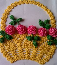 Hand crocheted Vintage May Basket  Mothers day by smileyface21, $25.00