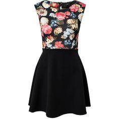 Ax Paris Floral Print Bodice Skater Skirt Dress ($39) ❤ liked on Polyvore featuring dresses, vestidos, black, party dresses, womens-fashion, skater skirts, floral print dress, flower print dress, floral skater skirt and patterned skater skirt