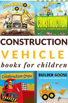 Construction Vehicle Book List: A fun list of read alouds for toddlers and preschoolers. Toddler Preschool, Preschool Books, Preschool Ideas, Preschool Crafts, Construction For Kids, Le Book, Kindergarten Games, Dramatic Play Centers, Fun List
