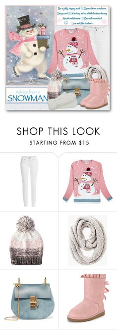 """Advice from a Snowman"" by brendariley-1 ❤ liked on Polyvore featuring Paige Denim, Betsey Johnson, Chico's, Chloé, UGG, M&Co and snowman"