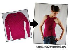 DIY Sweater Refashion to a halter top  #diy #refashion #sweater