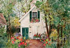 Sherri Crabtree Art - Village Carriage House by Sherri Crabtree