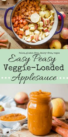 Deliciously kid-approved, full of warm fall flavors and easy peasy, Easy Peasy Veggie-Loaded Applesauce is going to change the snacking game in your house. Clean Eating Snacks, Healthy Snacks, Healthy Recipes, Simple Snacks, Paleo Recipes For Kids, Paleo Kids, Clean Lunches, Kid Lunches, Kid Snacks