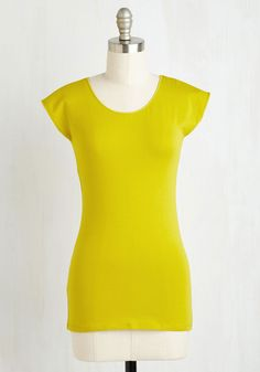In it to Vim It Top in Lemon. Should anyone ask, youre rarin to reveal that you chose to sport this soft, stretch cotton top for its lively qualities! #green #modcloth