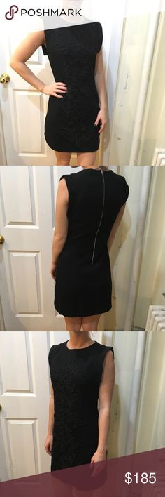 Sandro Black Embroidered Sleeveless Shift Dress Gorgeous Sandro dress with black embroidery on the front and has a tiny flap on the top of each Sleeve and has a zipper closure. Size 1 and worn for a few hours only. Sandro Dresses Mini