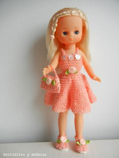 Vestiditos y muñecas: Minivestido rosa salmón AURORA. LESLY DE FAMOSA
