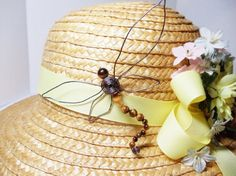 Wire Wrapped Dragonfly Brooch Tiger's Eye Hat Pin by simplysuzie2, $30.00