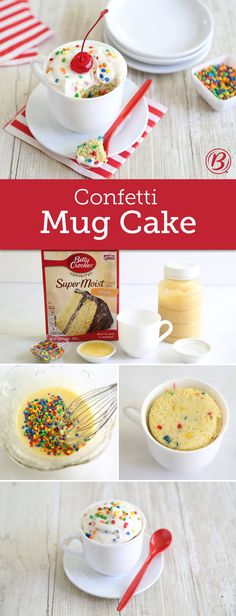 Craving a slice of cake? Have it ready in minutes by following this easy mug cake recipe. Top it with Betty Crocker™ Rich & Creamy rainbow chip frosting for an extra-special finish.