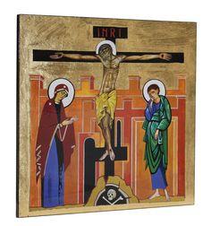 'La Crucifixión del Señor', icono de Kiko Argüello. iniciador del Camino Neocatecumanl.  Corona Mistérica del ábside de la Catedral de la Almudena (Madrid). Policromado con pan de oro.